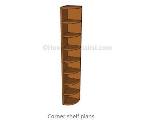 Free plans to build a Tall Corner Shelf.