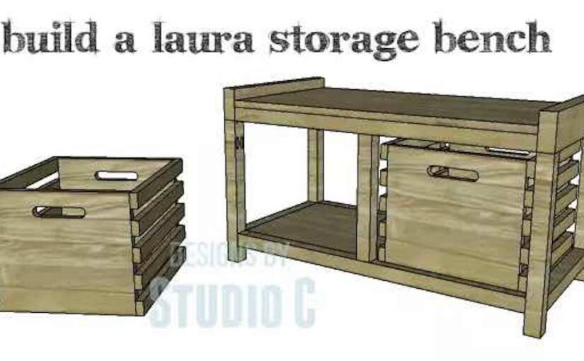 Free woodworking plans to build a Storage Bench.