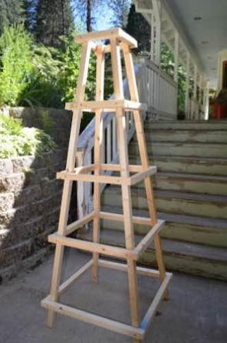 Build an Easy Garden Obelisk using free plans.