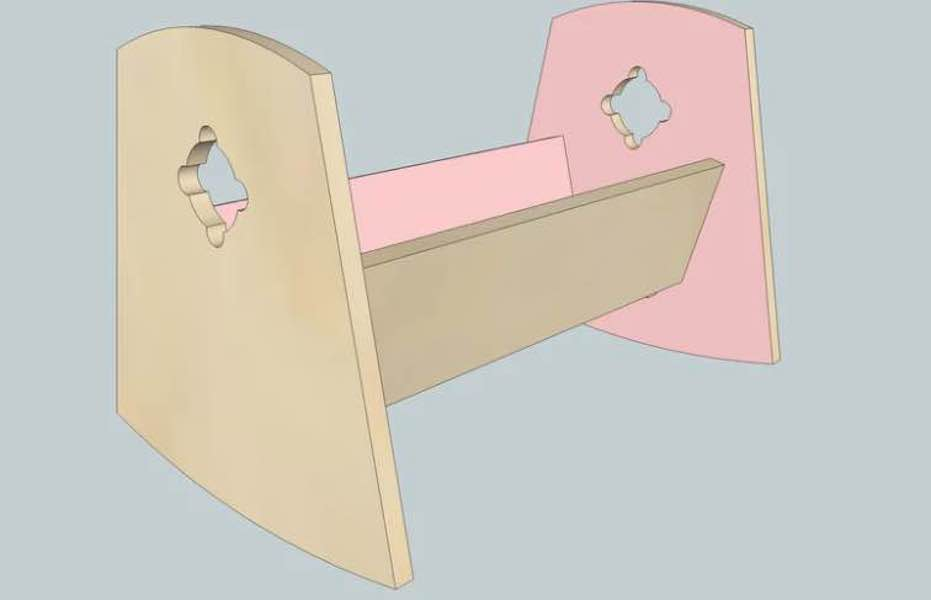 Build a Doll Cradle From Plywood using free plans.