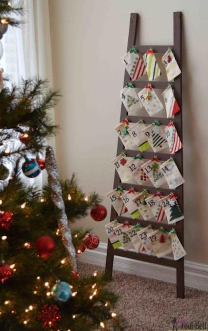 Free plans to build a Ladder Advent Calendar.