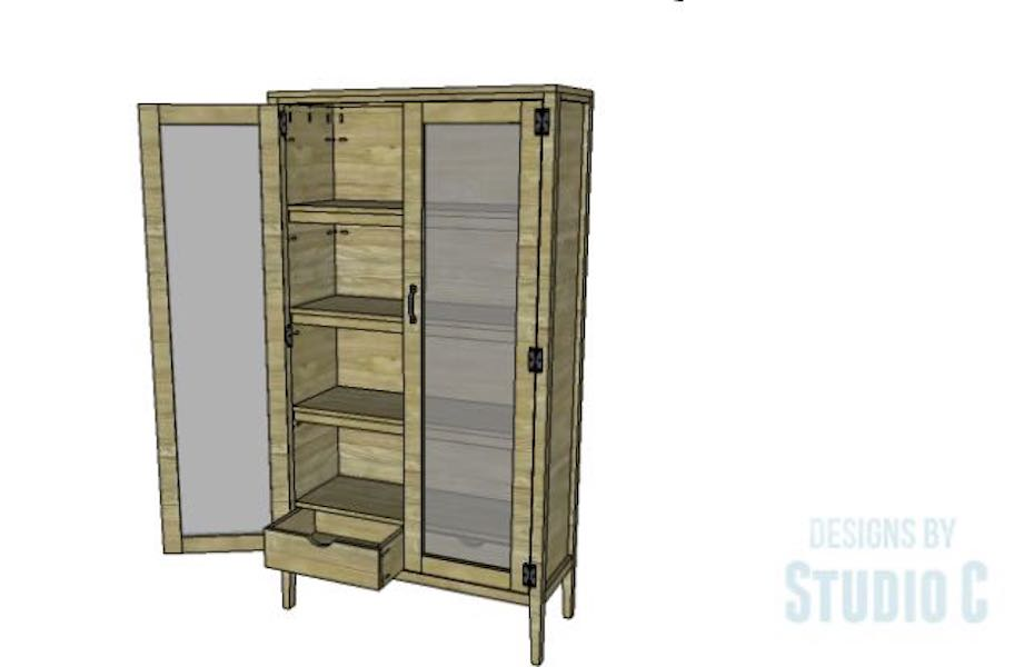 Free plans to build a Scoville Pantry Cabinet.