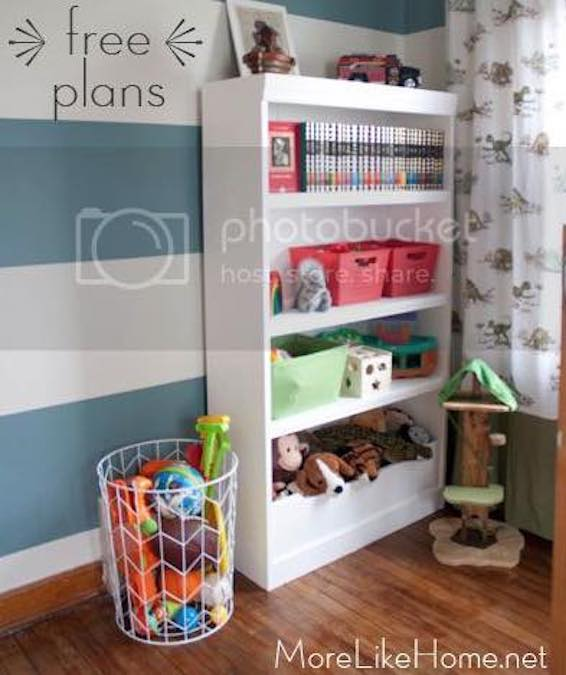 Build a Bookcase With Built-In Bin using free plans.