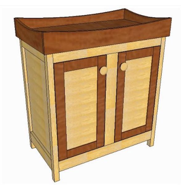 Free plans to build a Changing Table Cabinet.