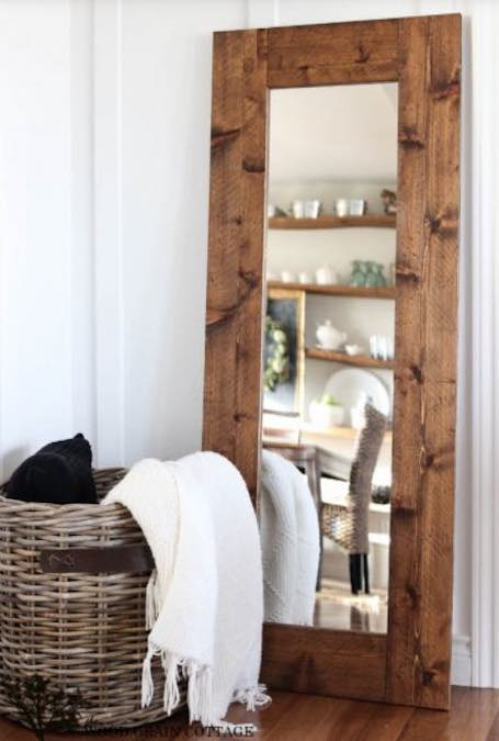 Build a Framed Floor Length Mirror using free plans.