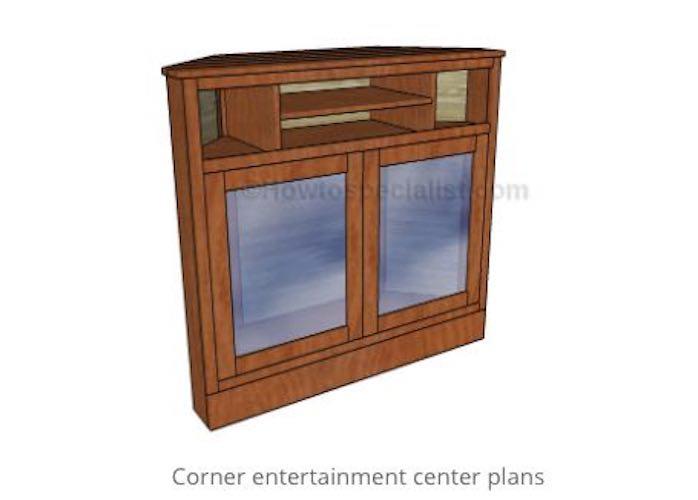 Build a Corner Entertainment Center using free plans.