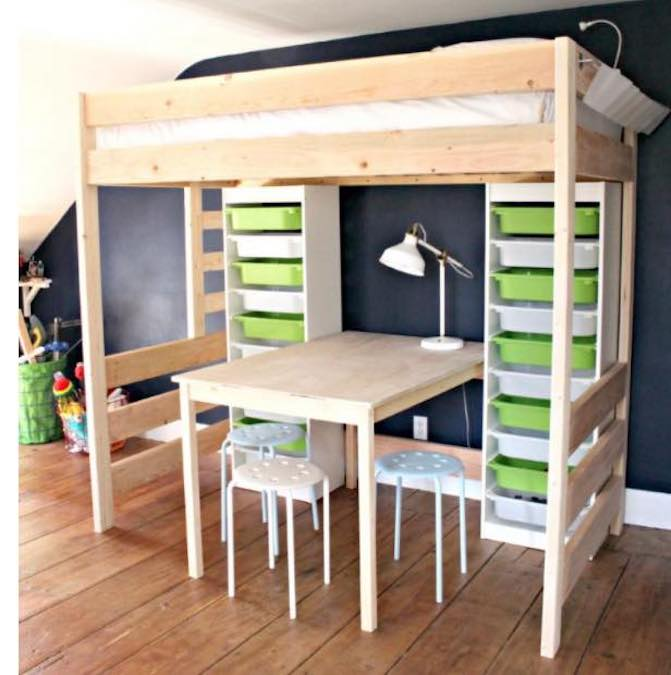 Free plans to build a Loft Bed with Desk.