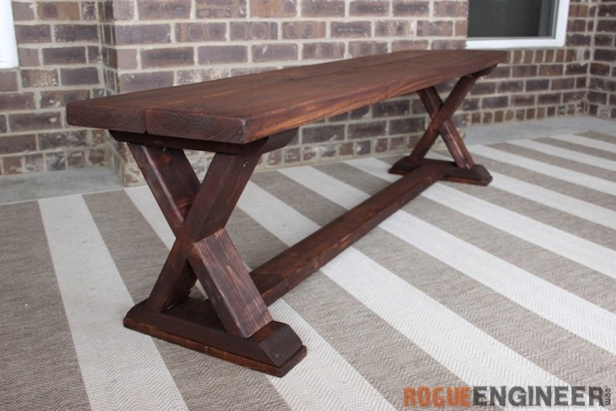 Build a Bench with X Braces with free plans.