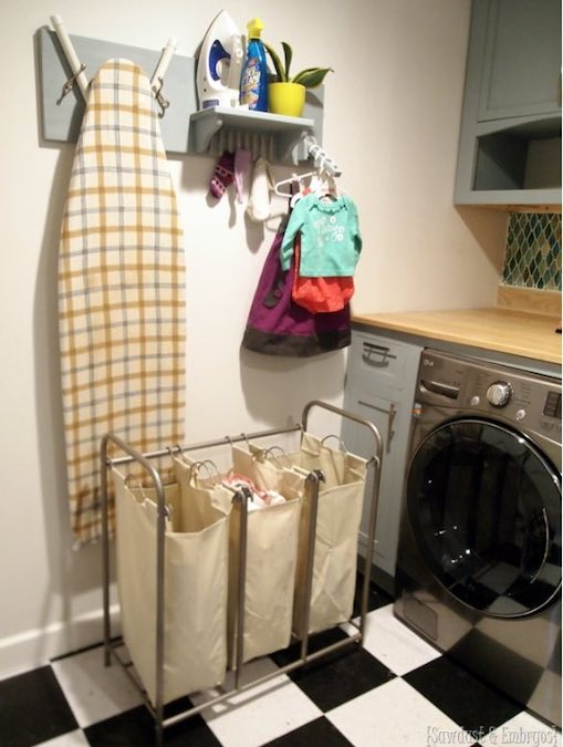 Free plans to build an Ironing Board Wall Organizer.