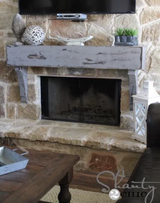 Build your own Rustic Fireplace Mantel using free plans.