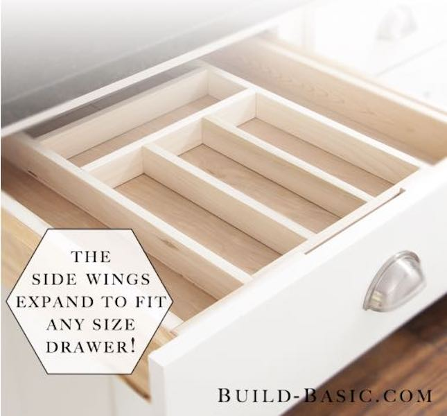 Free plans to build Drawer Organizer Expandable.