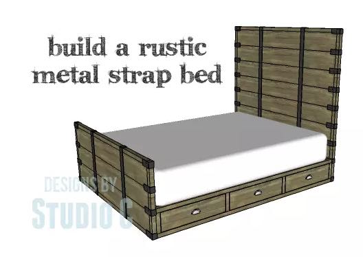 Rustic Bed with Metal Accents