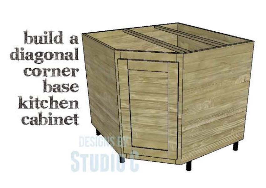 Free plans to build a Corner Kitchen Cabinet.