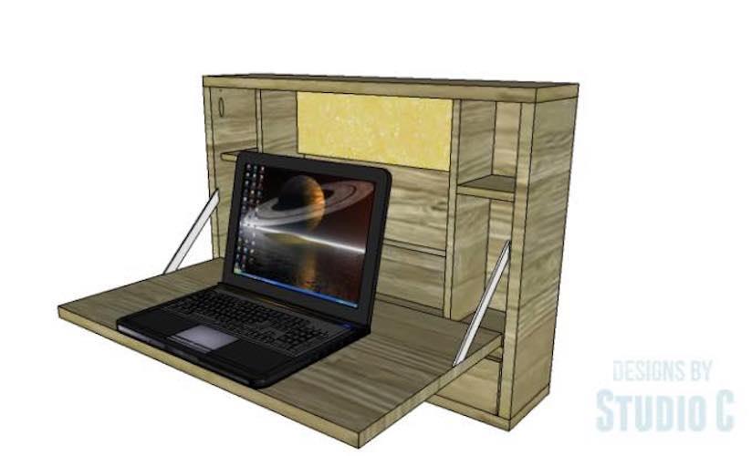 Free plans to build a Drop Down Laptop Desk.