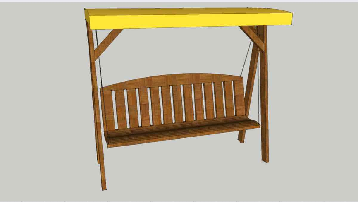 swing,wooden,canopy,diy,free woodworking plans,free projects,do it yourself,sketchup