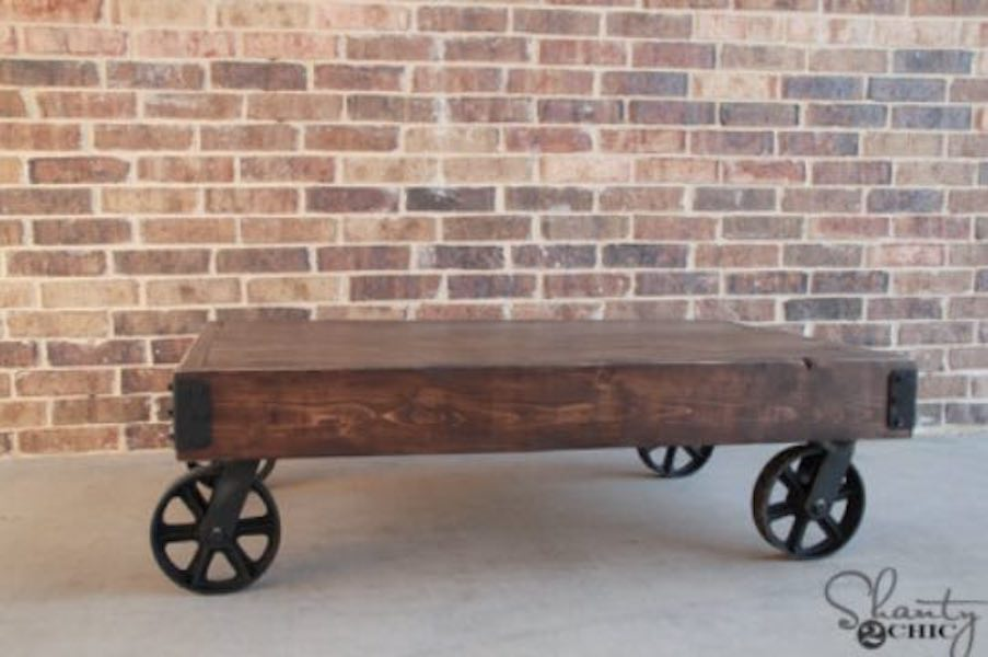 Build an Industrial Cart Coffee Table using free plans.