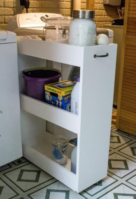 Build a Rolling Laundry Cart using free plans.