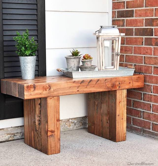 Free plans to build a Chunky Bench for outdoors.