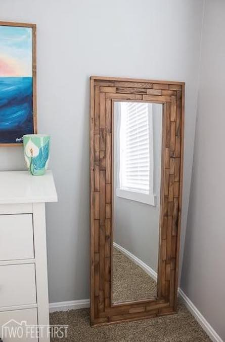 Build a Handsome Full Length Mirror using free plans.