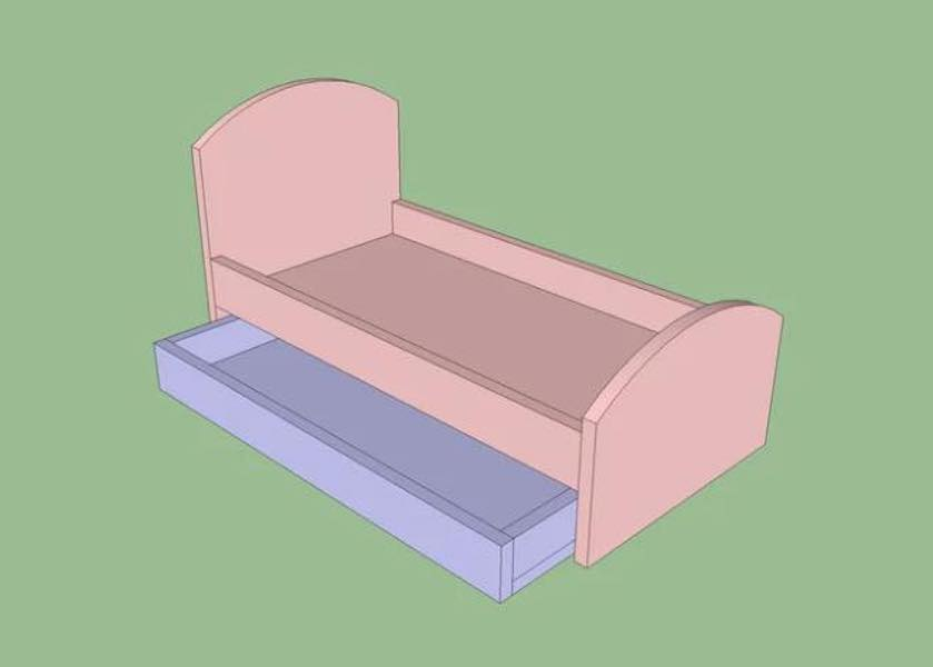 Build a Doll Trundle Bed using free plans.