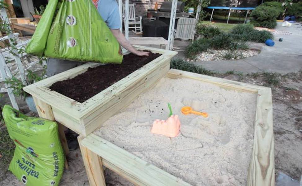 Free plans to build a Sandbox and Planter.