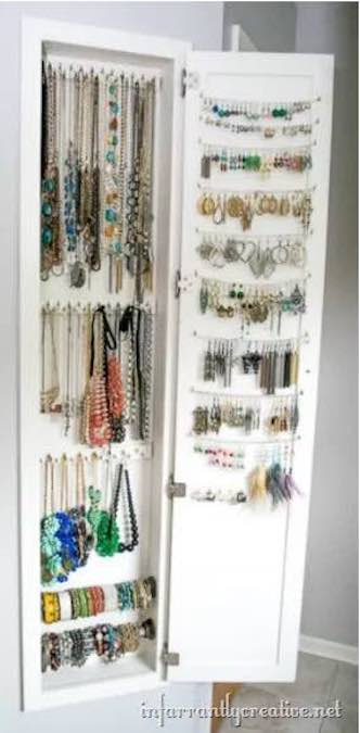 Build an Inset Jewelry Cabinet using free plans.