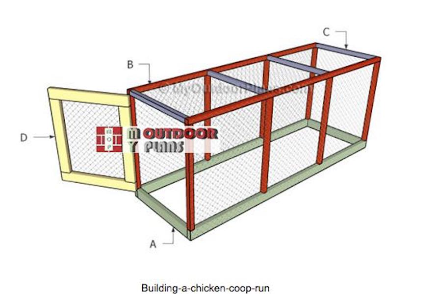 Free plans to build a Chicken Coop Run.