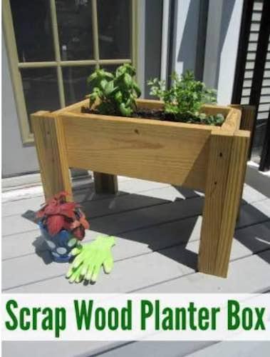 Build a Scrap Wood Planter Box using free plans.