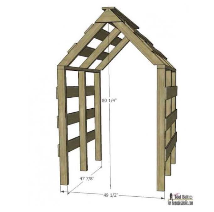 Build a Peaked Garden Arbor using free plans.