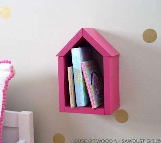 Free plans to build a House Shelf.