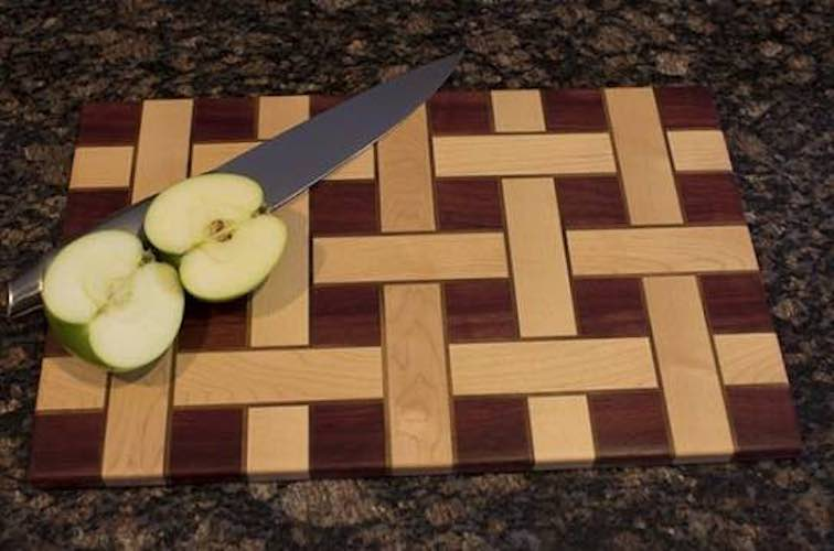 Free plans to build a Basket Weave Cutting Board.
