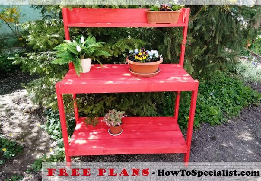 How To Build a Garden Potting Bench using free plans.