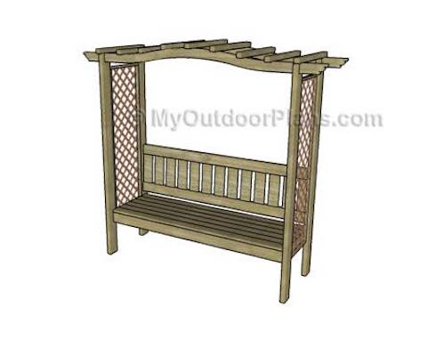 Build an Arbor with Bench Curved Top using free plans.