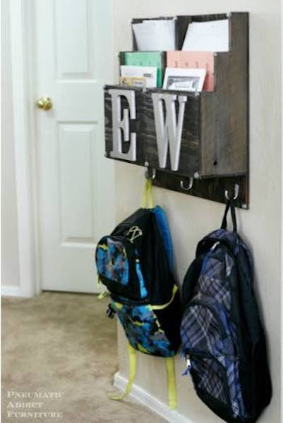 Free plans to build a Backpack and Homework Center.