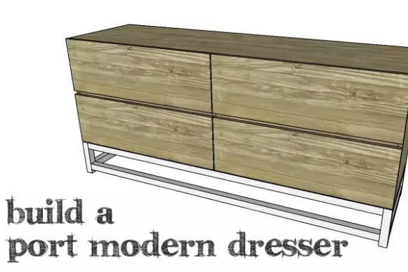 Free plans to build a Modern Dresser.