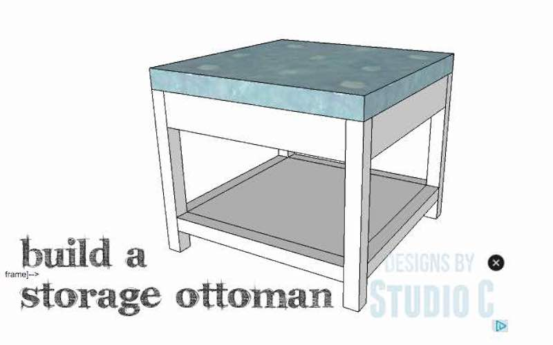 Build an Ottoman with Shelf using free plans.