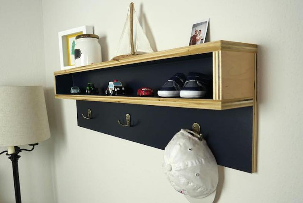 Build a Floating Coat Rack using free plans.