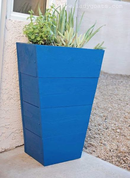 Build Tapered Planter Box using free plans.