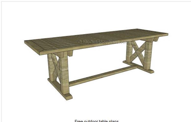 Free plans to build an Outdoor Dining Table 8 Feet Long.