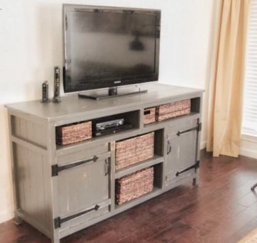 Build this using these Rustic Media Center Free Plan.