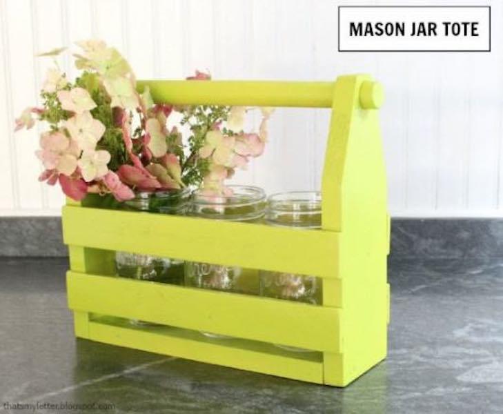Free plans to build a Mason Jar Tote.