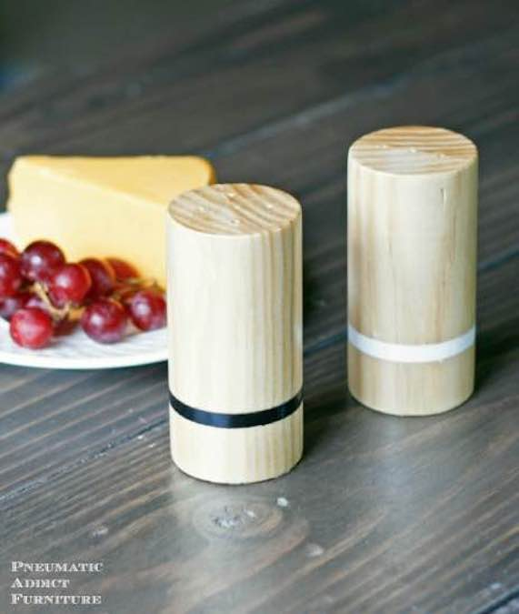 Free plans to make your own Salt and Pepper Shakers.