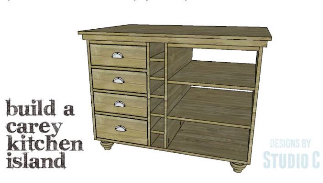 Free plans to build a Carey Kitchen Island.