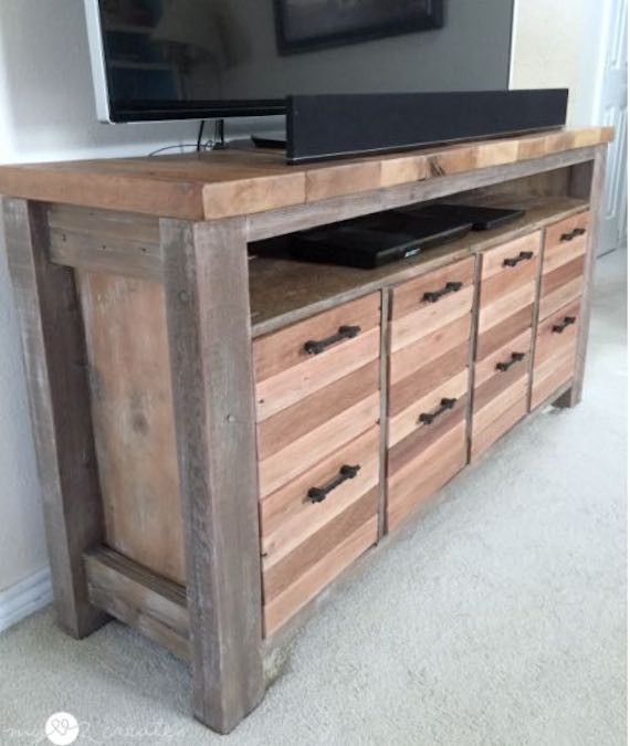 Build a Reclaimed Wood Media Console using free plans.