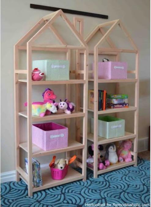Free plans to build House Frame Bookshelves.