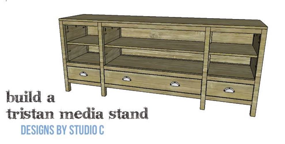 Build a Tristan Media Stand using free woodworking plans.