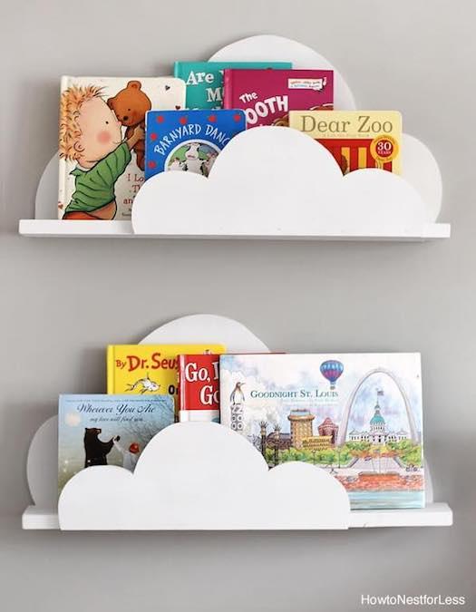 Free plans to build these Cloud Bookshelf Ledges.