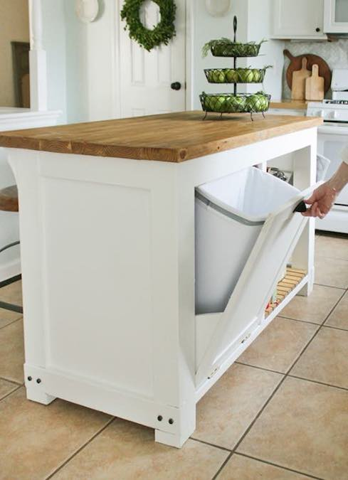 Free plans to build a Kitchen Island with Trash Storage.