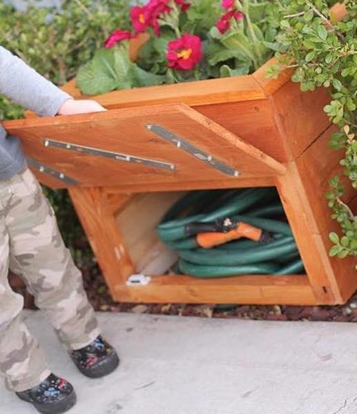 Free plans to build a Cedar Planter Box Hidden Compartment.