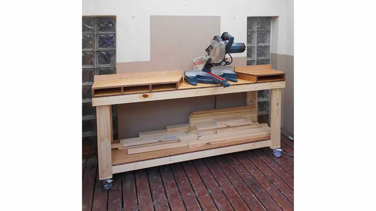 mitre saw workbenches,mitre saw stands,mobile,diy,free woodworking plans,free projects,do it yourself